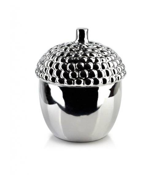 MONDEX GIA Pojemnik dekoracyjny 12,8 x 18 cm / srebrny / ceramika