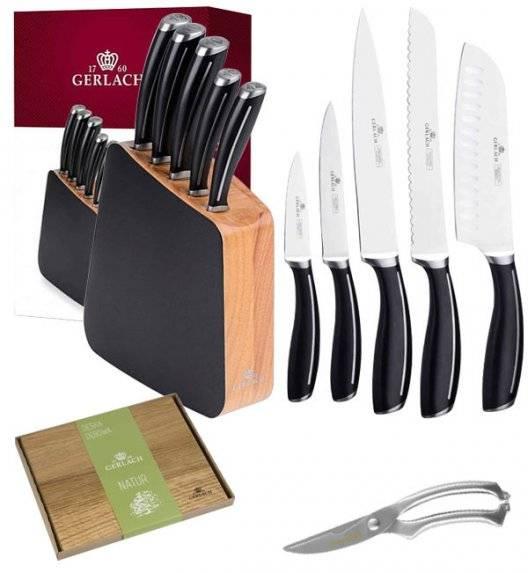 GERLACH LOFT Komplet 5 noży w bloku + nożyce do drobiu KH + deska dębowa
