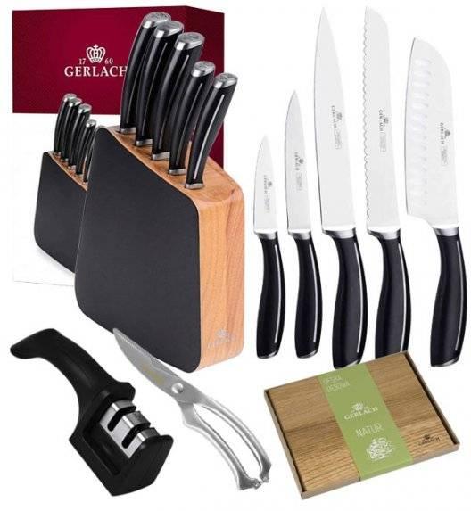GERLACH LOFT Komplet 5 noży w bloku + ostrzałka 2w1 + nożyce do drobiu KH + deska dębowa