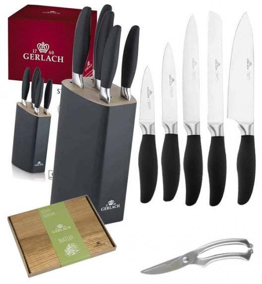 GERLACH STYLE Komplet 5 noży w bloku + deska dębowa + nożyce do drobiu KH