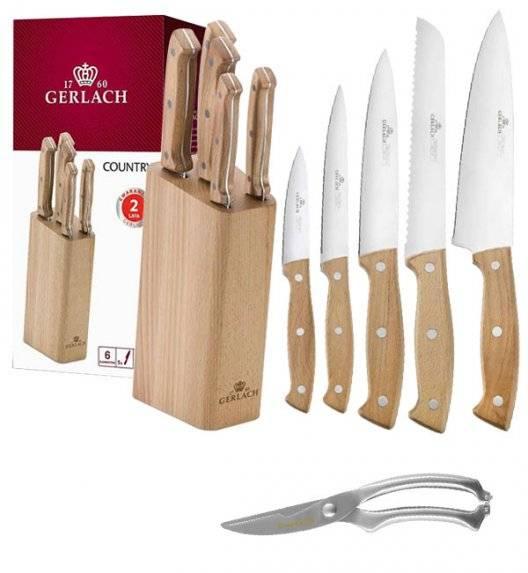 GERLACH COUNTRY Komplet 5 noży w bloku + nożyce do drobiu KH