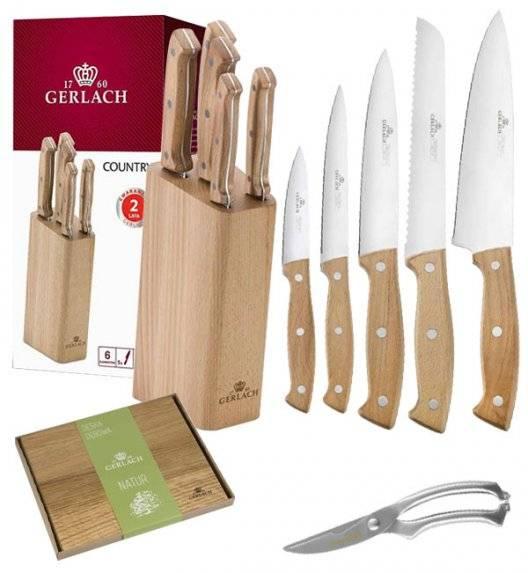 GERLACH COUNTRY Komplet 5 noży w bloku + nożyce do drobiu KH + deska dębowa