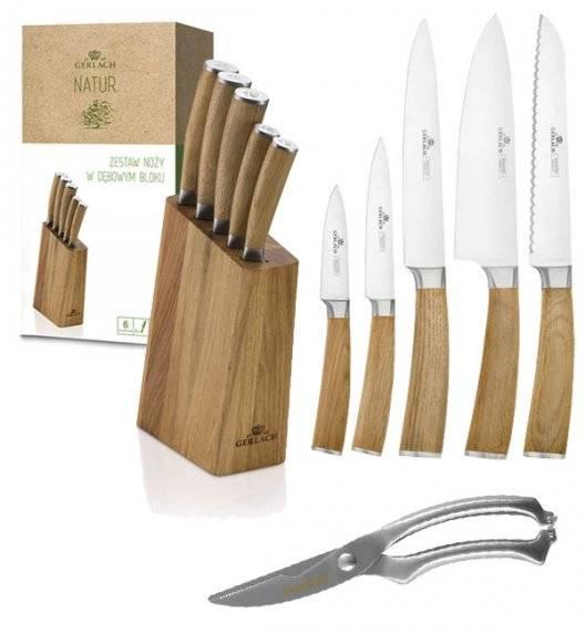 GERLACH NATUR Komplet 5 noży w bloku + nożyce do drobiu KH