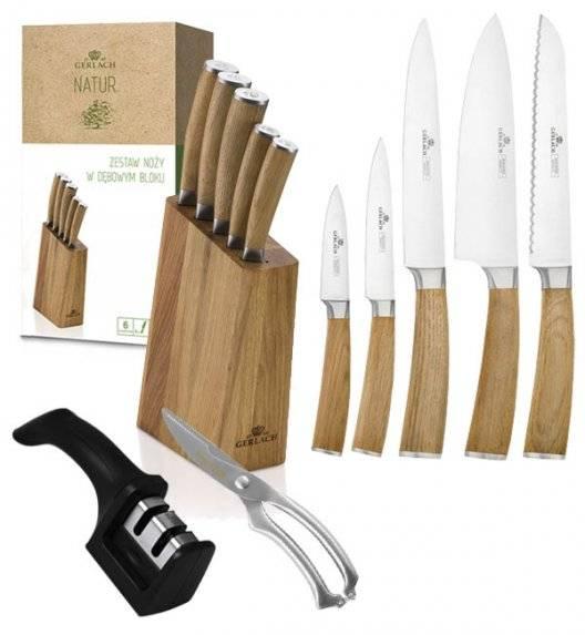 GERLACH NATUR Komplet 5 noży w bloku  + ostrzałka 2w1 + nożyce do drobiu KH