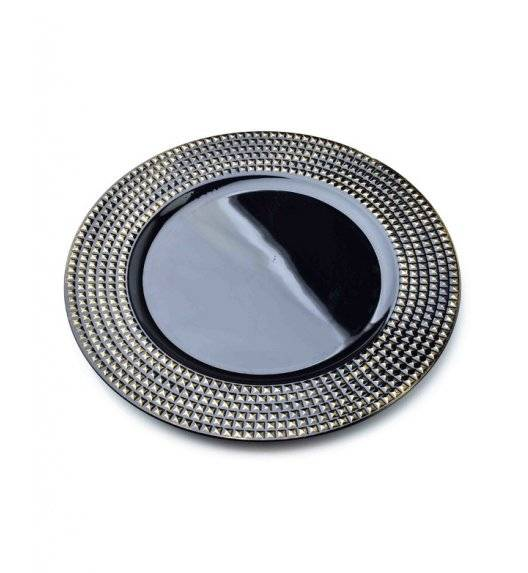 MONDEX BLANCHE COLOURS Podtalerz dekoracyjny 33 cm / czarny + żłobienia / tworzywo sztuczne