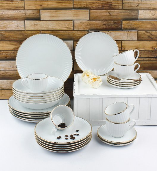 LUBIANA DAISY GOLD Serwis obiadowo - kawowy 18 osób / 90 elementów / Porcelana ręcznie zdobiona