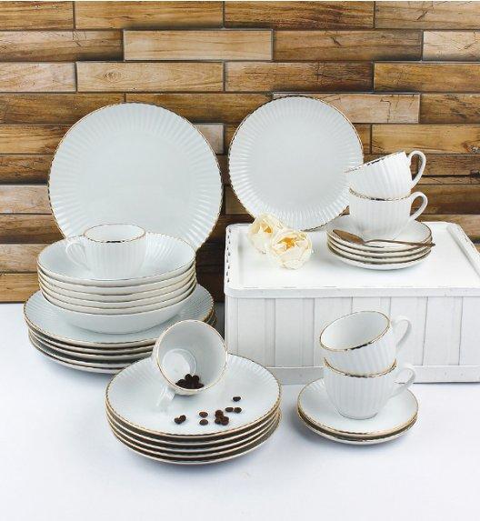 LUBIANA DAISY GOLD Serwis obiadowo - kawowy 24 osoby / 120 elementów / Porcelana ręcznie zdobiona
