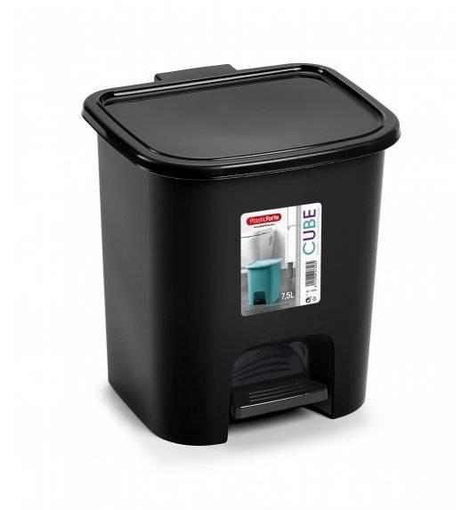 PLASTIC FORTE CUBE Kosz na śmieci z pedałem / 7,5 L / czarny / tworzywo sztuczne