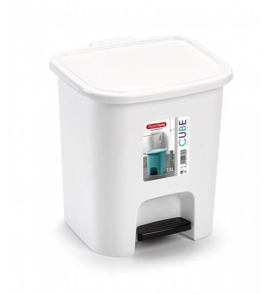 PLASTIC FORTE CUBE Kosz na śmieci z pedałem / 7,5 L / biały / tworzywo sztuczne