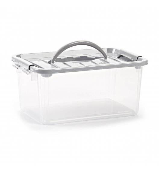 PLASTIC FORTE Pojemnik do przechowywania z uchwytem i pokrywką / srebrny / tworzywo sztuczne