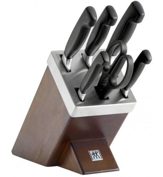 ZWILLING TWIN FOUR STAR II Zestaw 5 noży w bloku samoostrzącym / stal nierdzewna, tworzywo sztuczne