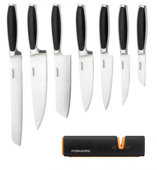 FISKARS ROYAL FSRL3 Komplet 7 noży kuchennych / stal nierdzewna + Ostrzałka Fiskars Edge Roll - Sharp