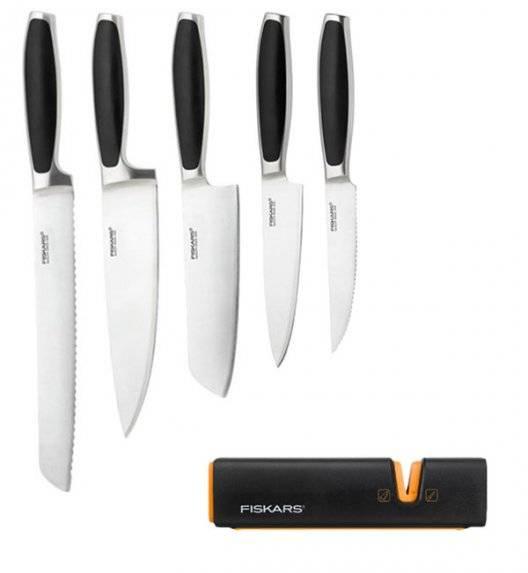 FISKARS ROYAL FSRL4 Komplet 5 noży kuchennych / stal nierdzewna + Ostrzałka Fiskars Edge Roll - Sharp