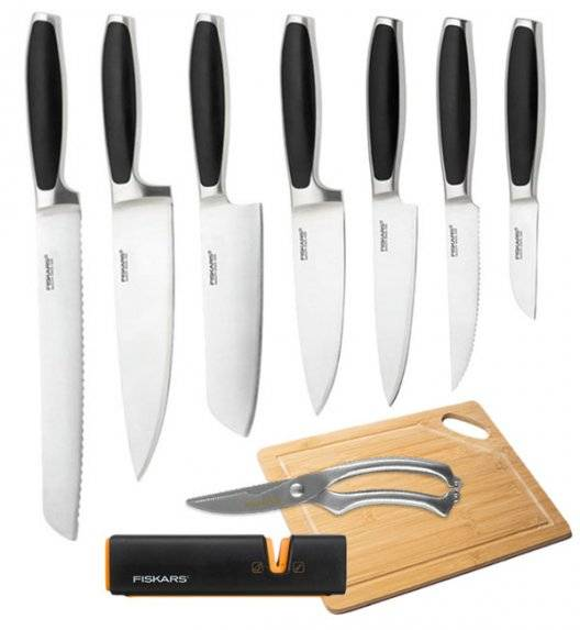 FISKARS ROYAL FSRL5 Komplet 7 noży kuchennych / stal nierdzewna + Ostrzałka Fiskars Edge Roll - Sharp + Deska bambusowa + Nożyce do drobiu