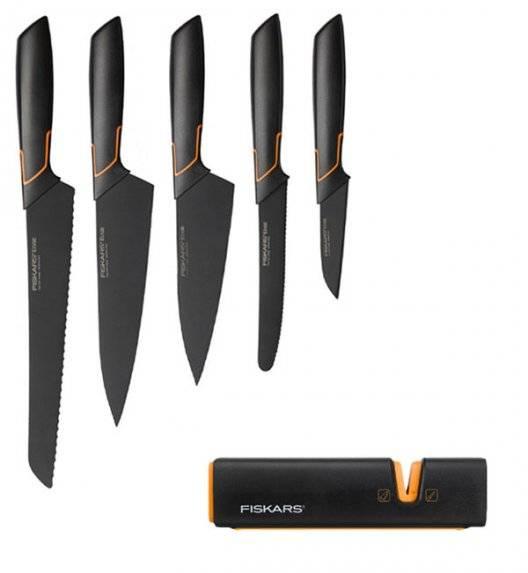 FISKARS EDGE FSEL7 Komplet 5 noży kuchennych + ostrzałka Fiskars Edge / japońska stal nierdzewna