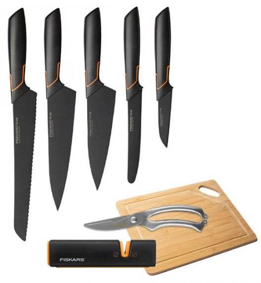 FISKARS EDGE FSEL9 Komplet 5 noży kuchennych + ostrzałka Fiskars Edge + deska bambusowa + nożyce stalowe / japońska stal nierdzewna