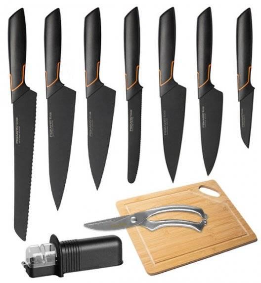 FISKARS EDGE FSEL5 Komplet 7 noży kuchennych + ostrzałka uniwersalna + Deska bambusowa + Nożyce stalowe / japońska stal nierdzewna