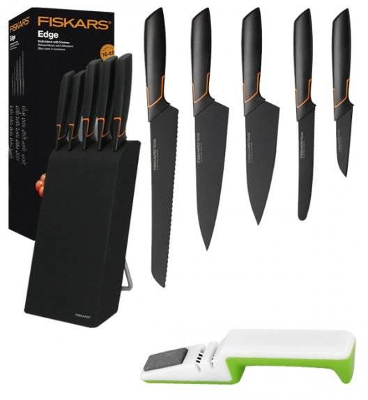 FISKARS EDGE 1003099 Zestaw 5 noży kuchennych w bloku czarnym / stal 420J2 / czarne ostrza + ostrzałka uniwersalna biało-zielona