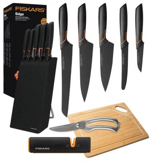 FISKARS EDGE 1003099 Zestaw 5 noży kuchennych w bloku czarnym / stal 420J2 / czarne ostrza + ostrzałka Fiskars + Deska bambusowa + nożyce całostalowe