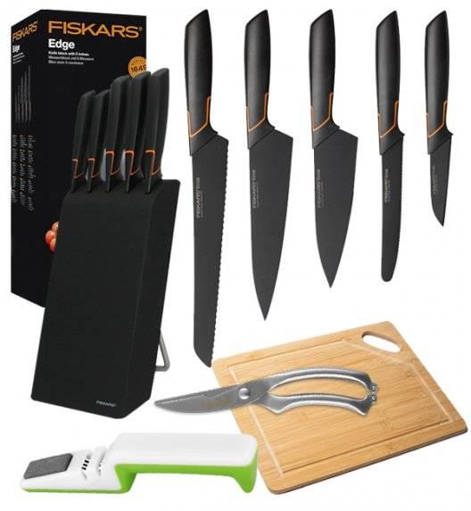 FISKARS EDGE 1003099 Zestaw 5 noży kuchennych w bloku czarnym / stal 420J2 / czarne ostrza + ostrzałka uniwersalna biało-zielona+ Deska bambusowa + nożyce całostalowe