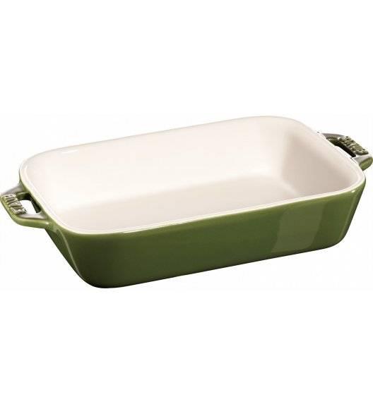 STAUB COOKING Prostokątny półmisek ceramiczny / 1,1 l / 20 x 16 cm / zielony / ceramika
