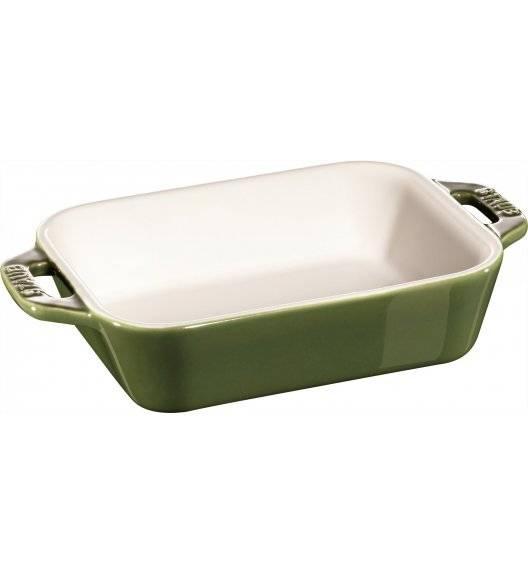 STAUB COOKING Prostokątny półmisek ceramiczny / 400 ml / 14 x 11 cm / zielony / ceramika