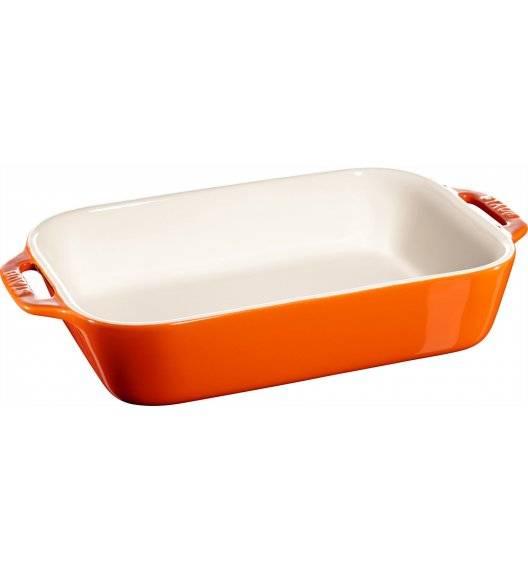 STAUB COOKING Prostokątny półmisek ceramiczny / 2,4 l / 27 x 20 cm / pomarańczowy / ceramika