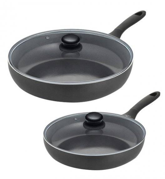 GERLACH POPULAR BLACK Komplet patelni 24, 28 cm + pokrywki / powłoka ceramiczna Excilon / indukcja