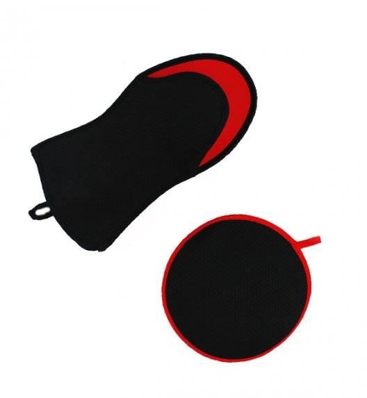GERLACH Rękawica kuchenna + podkładka / czarno-czerwona