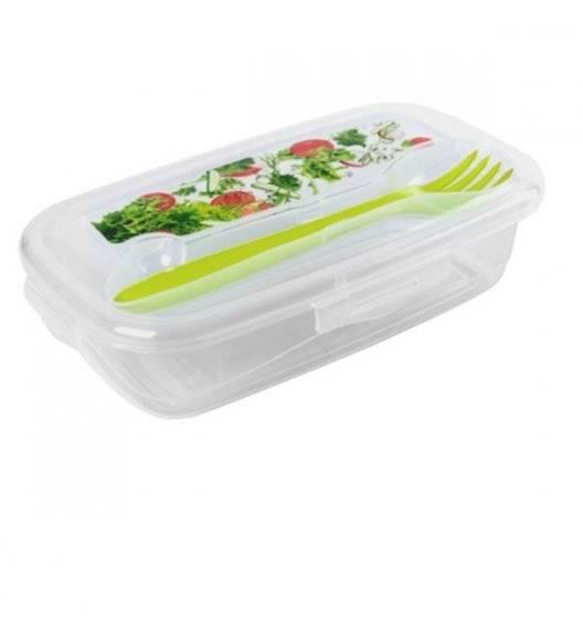HEGA Lunch box z widelcem / 18 x 10,5 x 4 cm / transparentny, zielony / tworzywo sztuczne