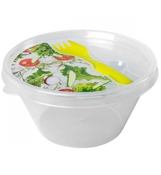 HEGA Lunch box z widelcem / Ø 14 cm / transparentny, zielony / tworzywo sztuczne