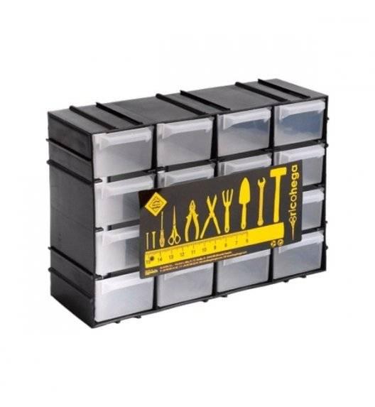 HEGA Organizer warsztatowy z szufladkami / 15 x 8 x  21,5 cm / czarny, transparentny / tworzywo sztuczne