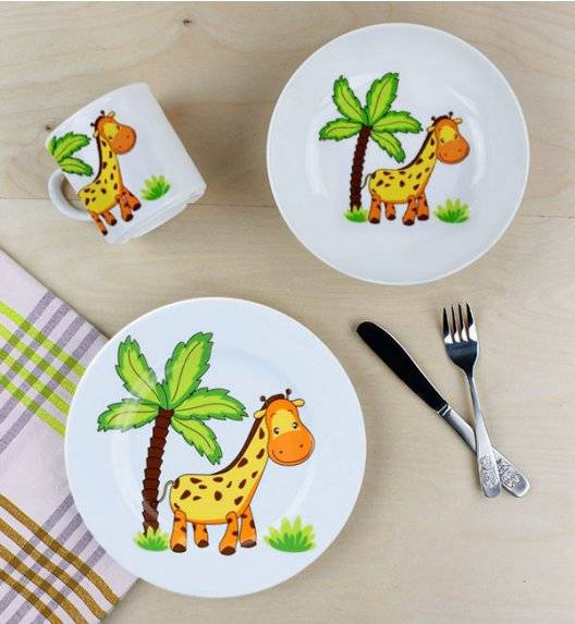 LUBIANA ŻYRAFA Komplet obiadowy dla dzieci 3 el / porcelana