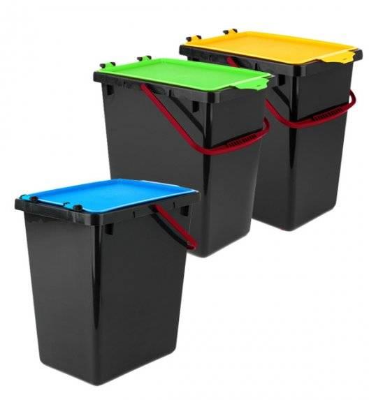 TADAR Zestaw 3 koszy do segregacji odpadów / 11 L / tworzywo sztuczne