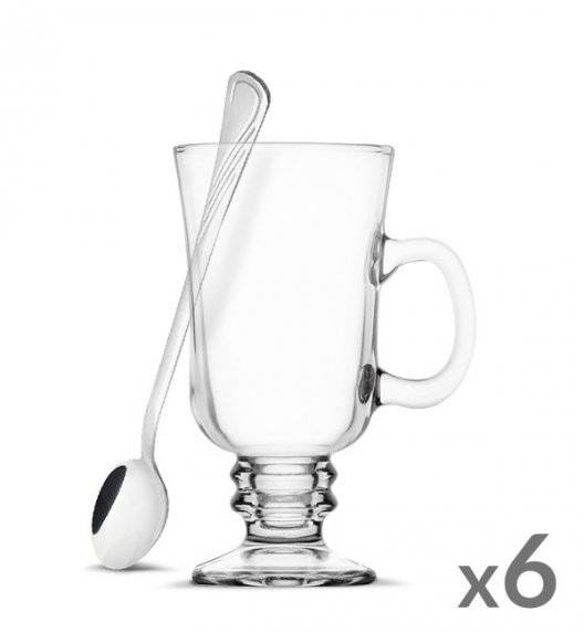 TADAR Komplet 6 szklanek Irish Coffe 240 ml Kawa Latte + 6 łyżeczek koktajlowych Tadar Amazon
