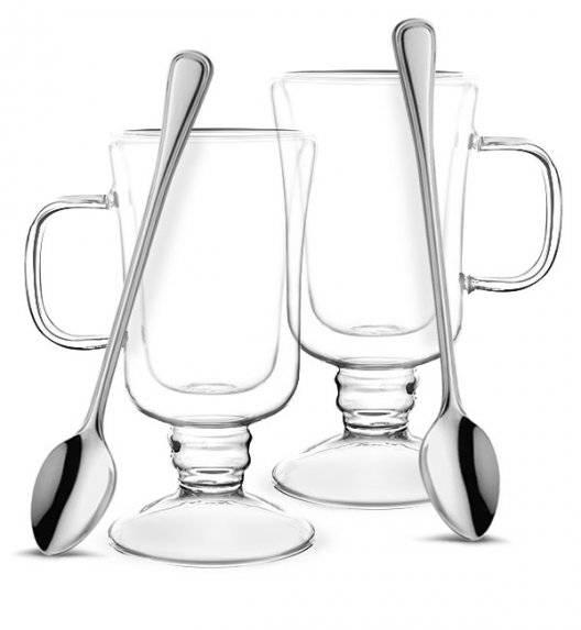 TADAR SUBLIME Komplet 2 szklanek termicznych do latte 200 ml z podwójną ścianką + 2 łyżeczki koktajlowe Amefa Bologna