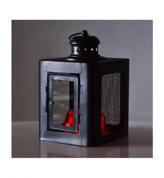 MONDEX KANVAR Lampion kominek LED 18 x 18 x 28 cm / metal, szkło