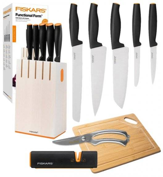 FISKARS FUNCTIONAL FORM 1014209 Komplet 5 noży kuchennych w białym bloku + OSTRZAŁKA EDGE + Deska drewniana + Nożyce do drobiu / stal nierdzewna / rękojeść Softgrip®