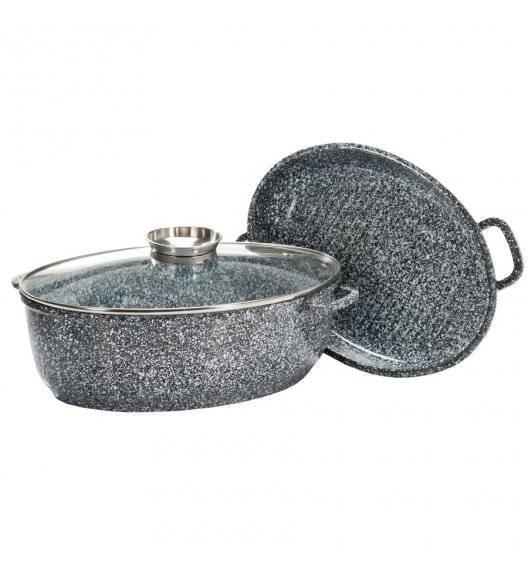 KonigHOFFER KINGSTONE Brytfanna owalna 8 l z aromatyzerem + wkład do grillowania / powłoka ceramiczna