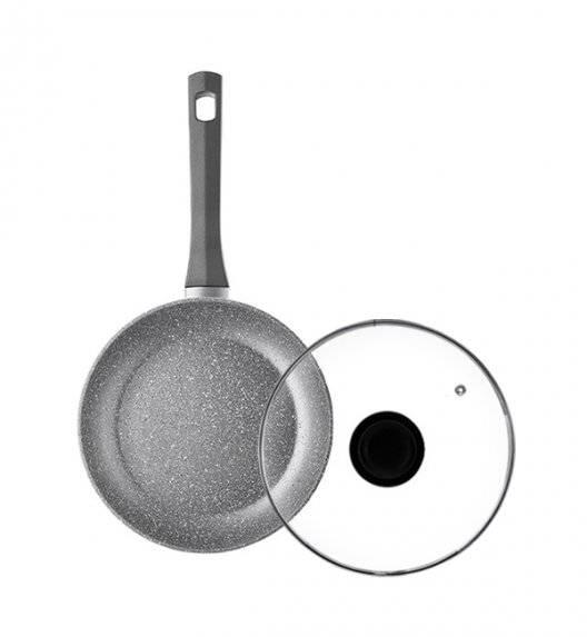 AMBITION SILVERSTONE Komplet patelnia 20 cm + pokrywka uniwersalna 20 cm / powłoka Qalum Basic Stone Edition