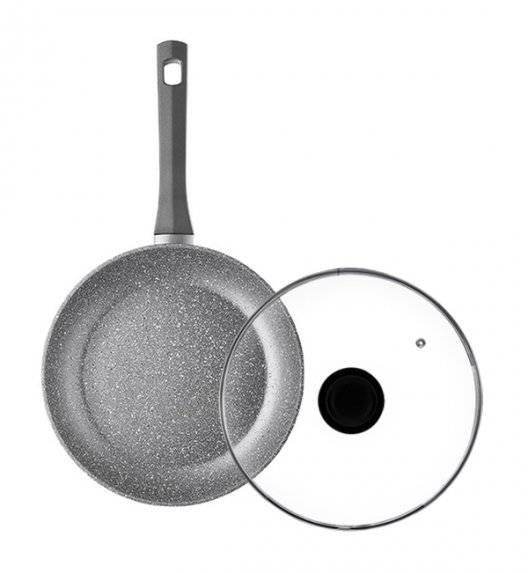 AMBITION SILVERSTONE Komplet patelnia 24 cm + pokrywka uniwersalna 24 cm / powłoka Qalum Basic Stone Edition