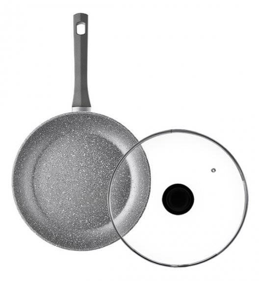 AMBITION SILVERSTONE Komplet patelnia 28 cm + pokrywka uniwersalna 28 cm / powłoka Qalum Basic Stone Edition