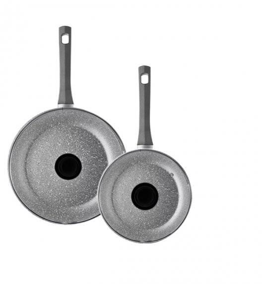 AMBITION SILVERSTONE Komplet patelni 20, 28 cm + pokrywki uniwersalne 20, 28 cm / powłoka Qalum Basic Stone Edition