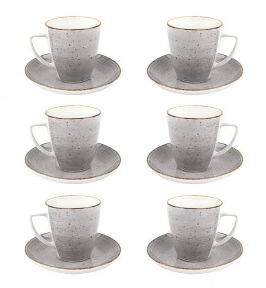 LUBIANA BOSS 6630Z Komplet filiżanek 200 ml ze spodkami / 6 os / 12 el / szary / porcelana ręcznie malowana