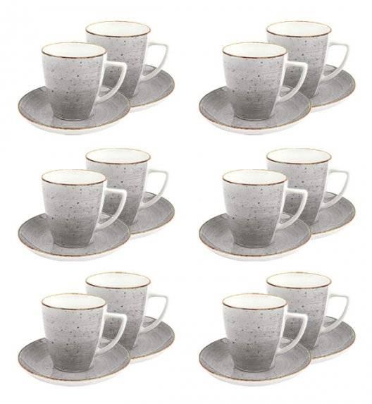 LUBIANA BOSS 6630Z Komplet filiżanek 200 ml ze spodkami / 12 os / 24 el / szary / porcelana ręcznie malowana