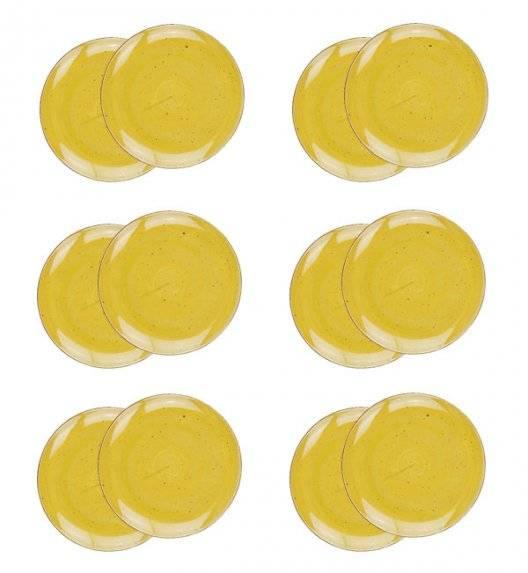 LUBIANA BOSS 6630J Komplet talerzy deserowych 20,5 cm / 12 os / 12 el / żółty / porcelana ręcznie malowana