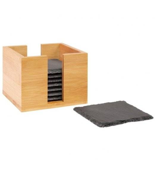 WESTMARK Zestaw podkładek w pudełku / 10 x 10 cm / 9 elementów / łupek + drewno