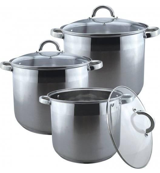 BRUNBESTE Komplet 3 garnków gastronomicznych z pokrywkami / 10 L, 12 L, 15 L / indukcja