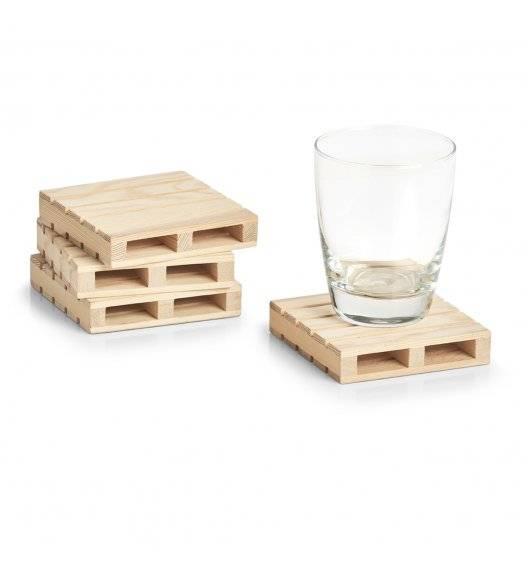 ZELLER Zestaw 4 podkładek pod szklanki 10 x 10 cm / drewno sosnowe
