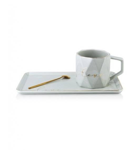 WYPRZEDAŻ! COLETTE Filiżanka z prostokątnym spodkiem 260 ml / biała / porcelana